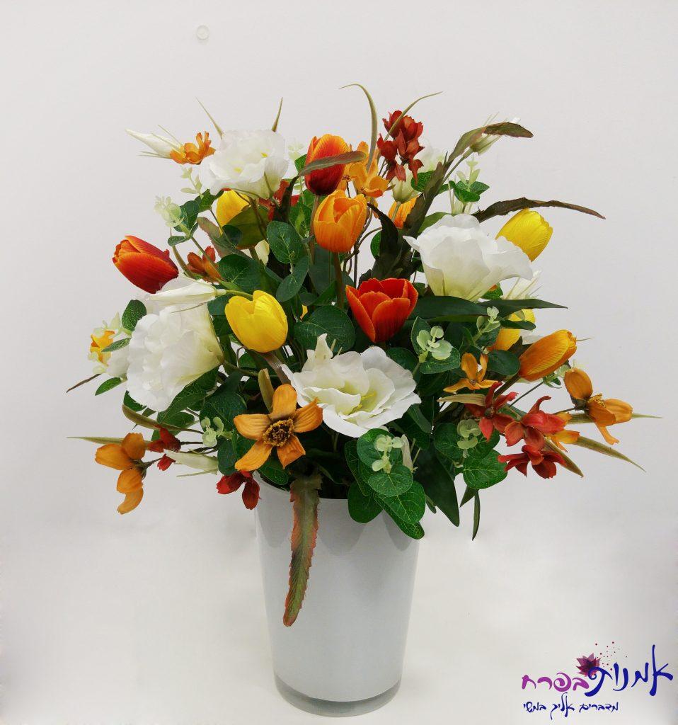סידור פרחים בצבעי אש