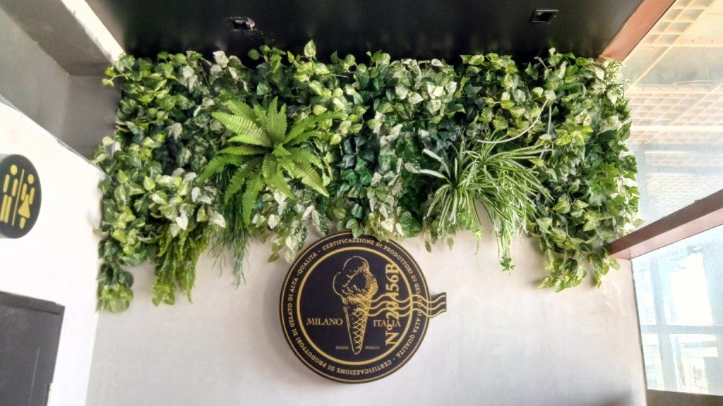 קיר ירוק בגלידרייה