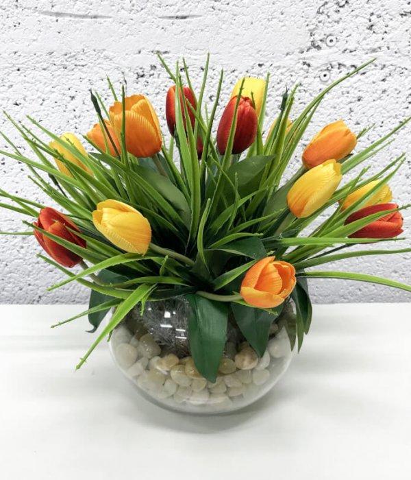 סידור 15 פרחי טוליפים - כתום צהוב