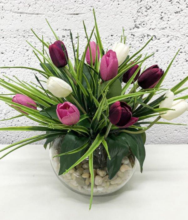 סידור 15 פרחי טוליפים - אדום - ורוד