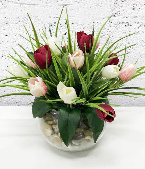 סידור 15 פרחי טוליפים - אדום - לבן