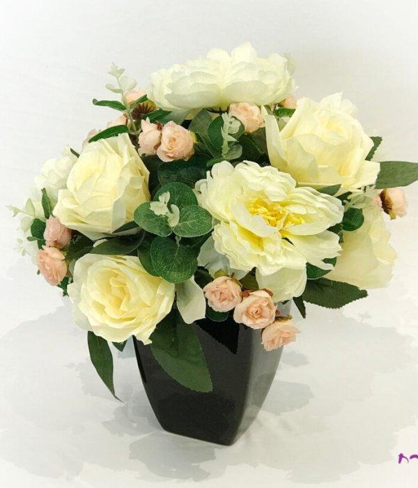 זכוכית שחורה עם פרחים לבנים וורודים