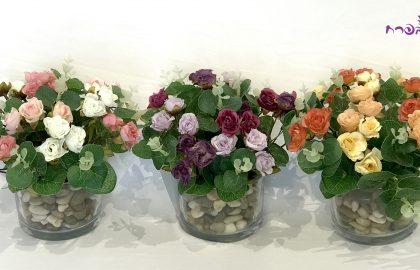 סידור ורדים קטנים בכוס זכוכית