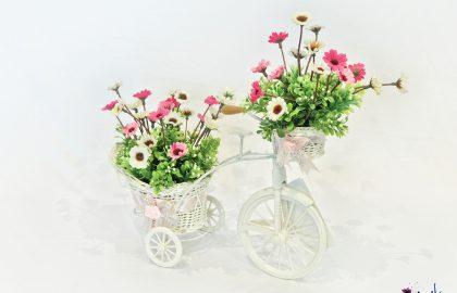 סידור פרחי שדה בכלי אופניים 2 סלים